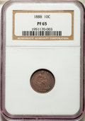 Proof Seated Dimes: , 1888 10C PR65 NGC. NGC Census: (35/31). PCGS Population: (20/31). PR65. Mintage 832. ...