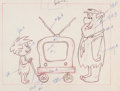 Animation Art:Production Drawing, The Flintstones Arnold and Fred Layout Drawing(Hanna-Barbera, 1962)....