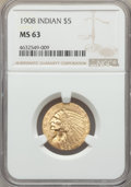 Indian Half Eagles, 1908 $5 MS63 NGC. NGC Census: (1054/856). PCGS Population: (1270/1058). MS63. Mintage 577,800. ...