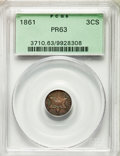 1861 3CS PR63 PCGS. PCGS Population: (28/82). NGC Census: (20/51). PR63. Mintage 1,000. From The Indian Collection. &...