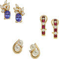 Estate Jewelry:Earrings, Diamond, Multi-Stone, Cultured Pearl, Gold Earrings. ... (Total: 3 Items)