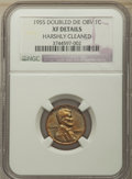 1955 1C Doubled Die Obverse, FS-101, -- Harshly Cleaned -- NGC Details. XF. NGC Census: (0/0). PCGS Population: (0/0)...