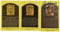Autographs:Post Cards, Vintage Baseball Stars Signed Gold Hall of Fame Plaques Lot of 3.The gold Hall of Fame plaque postcard series is presented...