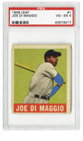 Baseball Cards:Singles (1940-1949), 1948-49 Leaf Joe DiMaggio #1 PSA VG-EX 4. Highly desirable star #1card from the 1948-49 Leaf baseball issue features the Y...