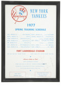 Autographs:Others, 1977 Yankees Spring Training Schedule Signed by Mickey Mantle andReggie Jackson. This unique memento comes in the form of ...