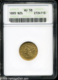 """Liberty Quarter Eagles: , 1893 $2 1/2 AU58 ANACS. The current Coin Dealer Newsletter (Greysheet) wholesale """"bid"""" price is $200.00...."""