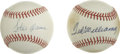 Autographs:Baseballs, Hank Aaron and Ted Williams Single Signed Baseballs Lot of 2. Thispair of Hall of Fame sluggers each offers a tremendous e...
