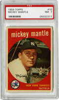 Baseball Cards:Singles (1950-1959), 1959 Topps Mickey Mantle #10 PSA NM 7 . It should surprise nobodythat the most valuable name in this 572-card set, the lar...