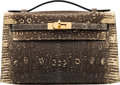 """Luxury Accessories:Bags, Hermès Ring Lizard Kelly Pochette with Gold Hardware. Condition: 2. 8.5"""" Width x 5"""" Height x 3"""" Depth. ..."""