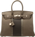 Luxury Accessories:Bags, Hermès 35cm Etain & Graphite Clemence Leather & Gris Fonce Lizard Club Birkin Bag with Palladium Hardware. O Square, 2011...