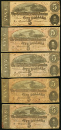 Confederate Notes:1864 Issues, T69 $5 1864 Ten Examples Fine or Better.. ... (Total: 10 notes)