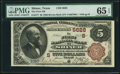 National Bank Notes:Texas, Shiner, TX - $5 1882 Brown Back Fr. 477 The First NB Ch. # (S)5628 PMG Gem Uncirculated 65 EPQ.. ...