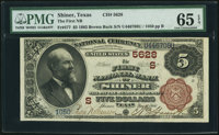 Shiner, TX - $5 1882 Brown Back Fr. 477 The First NB Ch. # (S)5628 PMG Gem Uncirculated 65 EPQ