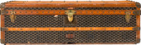 "Goyard Black Goyardine Coated Canvas Steamer Trunk Condition: 4 43"" Width x 13"" Height x 22"" Dept"