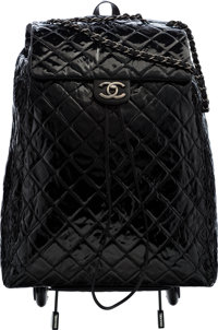 "Chanel Black Quilted Distressed Patent Leather Shopping Trolley Condition: 1 17"" Width x 22"" Heig"