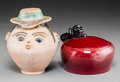 Ceramics & Porcelain, A Wiener Werkstätte Covered Jar and a Pottery Figural Vessel, Vienna Austria, circa 1910. Marks to covered jar: (WW-logo... (Total: 2 Items)