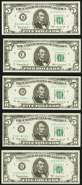 Small Size:Federal Reserve Notes, Fr. 1967-B*; C*; D*; F*; G* $5 1963 Federal Reserve Star Notes. Choice Crisp Uncirculated.. ... (Total: 5 notes)