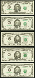 Small Size:Federal Reserve Notes, Fr. 1980-E* (2); F*; H* $5 1988A Federal Reserve Notes. Choice Crisp Uncirculated;. Fr. 1981-F; G*; K (2); L (2) $5 1988A ... (Total: 10 notes)