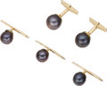 Estate Jewelry:Cufflinks, Black South Sea Cultured Pearl, Gold Dress Set, Julius Cohen, circa 1960. ... (Total: 4 Items)