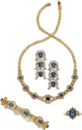 Estate Jewelry:Suites, Diamond, Sapphire, Gold Jewelry Suite. ... (Total: 4 Items)