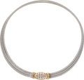 Estate Jewelry:Necklaces, Diamond, Gold, Stainless Steel Necklace, Fred, Paris. ...