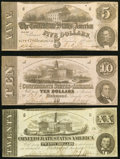 Confederate Notes:1862 Issues, T53; T52; T51 $5; $10; $20 1862 Fine or Better.. ... (Total: 3 notes)