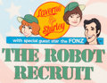 """Animation Art:Production Cel, Laverne and Shirley with Special Guest Star The Fonz """"TheRobot Recruit"""" Title Cel Setup and Painted Background (Hanna..."""