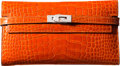 "Luxury Accessories:Accessories, Hermès Shiny Orange H Alligator Kelly Long Wallet with Palladium Hardware. R Square, 2014. Condition: 2. 8"" Width ..."
