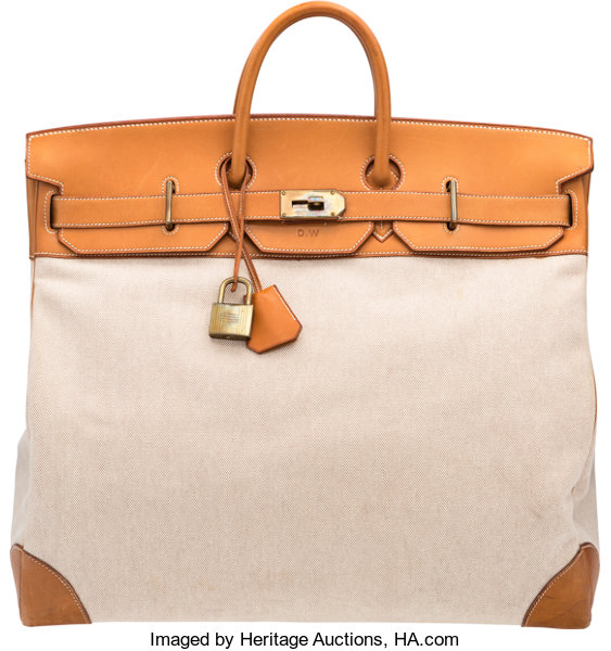 52f4aee7c0 ... Luxury Accessories:Bags, Hermès 50cm Natural Vache Leather and Toile HAC  Birkin Bag withGold ...