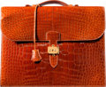 Luxury Accessories:Bags, Hermès 38cm Shiny Noisette Alligator Sac a Depeches Double Gusset Briefcase with Gold Hardware . B Square, 1998. Condi...