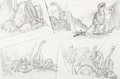 Animation Art:Production Drawing, The Land Before Time Dinosaurs Storyboard Original Art Group of 5 (Amblin/Lucasfilm/Don Bluth, 1988).... (Total: 5 Original Art)