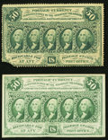 Fractional Currency:First Issue, Fr. 1310 50¢ First Issue About New, missing lower left corner;. Fr. 1312 50¢ First Issue New, pre-printing paper crinkles.... (Total: 2 notes)