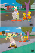 Animation Art:Production Cel, The Simpsons Bart Simpson, Lisa Simpson and Krusty the Clown Production Cels Sequence of 2 (Fox, 1993).... (Total: 2 Original Art)