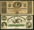 Obsoletes By State:Louisiana, New Orleans, LA- Citizens' Bank of Louisiana $100; $100 18__ Remainders Choice Crisp Uncirculated.. ... (Total: 2 notes)