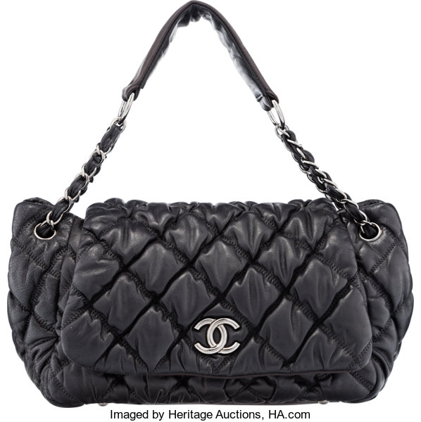 9c0e043d1162 Chanel Black Bubble Quilted Lambskin Leather Shoulder Bag