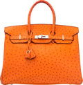 "Luxury Accessories:Bags, Hermès 35cm Orange Poppy Ostrich Birkin Bag with Palladium Hardware. H Square, 2004. Condition: 3. 14"" Width x 10""..."
