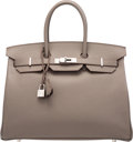"Luxury Accessories:Bags, Hermès 35cm Etain Epsom Leather Birkin Bag with Palladium Hardware. Q Square, 2013. Condition: 2. 14"" Width x 10"" ..."