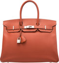"Luxury Accessories:Bags, Hermès 35cm Brique Epsom Leather Birkin Bag with Palladium Hardware. O Square, 2011. Condition: 2. 14"" Width x 10""..."