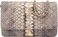 "Luxury Accessories:Bags, Chanel Light Gray Metallic Python Wallet on Chain. Condition:2. 7.5"" Width x 5"" Height x 1.5"" Depth. ..."