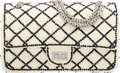 """Luxury Accessories:Bags, Chanel White Mesh & Black Sequin Quilted Reissue 225 Double Flap Bag with Silver Hardware. Condition: 2. 9.5"""" Width x ..."""