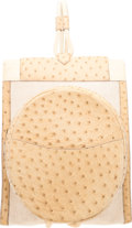"""Luxury Accessories:Bags, Hermès Blanc Casse Ostrich & Toile Backpack with Gold Hardware. P Circle, 1986. Condition: 3. 10"""" Width x 13"""" Heig..."""