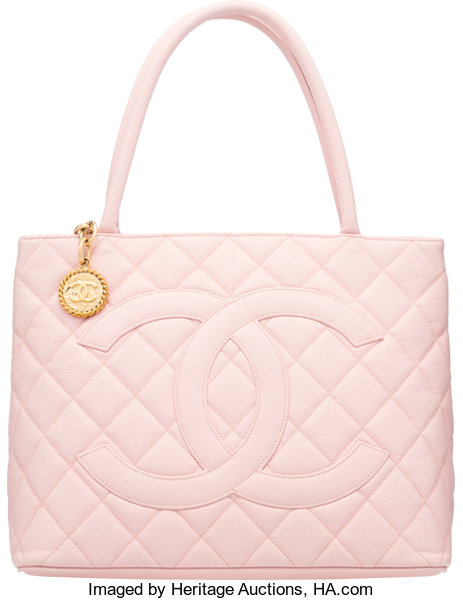 6145e536fb31 Condition; Luxury Accessories:Bags, Chanel Light Pink Quilted Caviar  Leather Medallion Tote Bag.