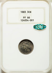 1883 3CN PR66 NGC. Gold CAC. Housed in a pre-hologram holder. PCGS Population: (392/94). NGC Census: (296/83). PR66. Min...