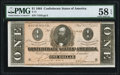 Confederate Notes:1864 Issues, T71 $1 1864 PF-12 Cr. 574 PMG Choice About Unc 58 EPQ.. ...