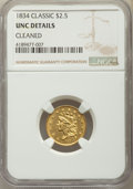 Classic Quarter Eagles, 1834 $2 1/2 -- Cleaned -- NGC Details. Unc. NGC Census: (29/260). PCGS Population: (15/193). MS60. Mintage 112,234....