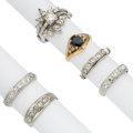 Estate Jewelry:Rings, Diamond, Sapphire, Glass, Platinum, Gold Rings . ... (Total: 7Items)