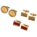Estate Jewelry:Cufflinks, Coral, Gold Coin, Gold Cuff Links . ... (Total: 3 Items)