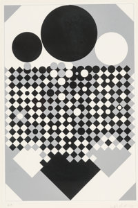 Victor Vasarely (French, 1906-1997) Untitled Screenprint on colors 18-1/2 x 12-1/2 inches (47.0 x