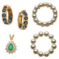 Estate Jewelry:Lots, Diamond, Sapphire, Emerald, Cultured Pearl, Gold Jewelry. ... (Total: 4 Items)