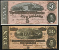 Confederate Notes:1864 Issues, T68 $10 1864 VF-XF;. T69 $5 1864 Choice CU.. ... (Total: 2 notes)